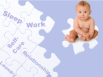 image of puzzle pieces labeled sleep, work, baby, self-care, laundry